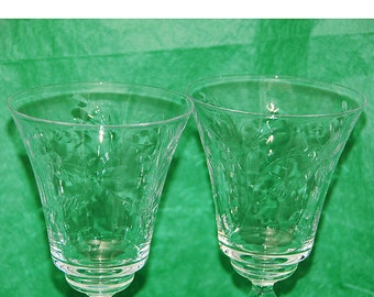 """Pr Vintage 1930s Crystal Water/WINE GOBLETS Beautiful Cut Design Twisted Stem Exc Condition No Chips r Cracks Bell Tone 7 7/8""""t x 3 1/2""""di"""