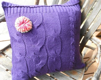 Upcycled Purple Sweater Pillow - Applied Flower - Shabby Chic