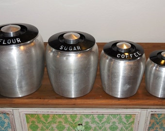 Retro 50's 4 piece KROMEX aluminum canister set - mid century - flour sugar coffee tea