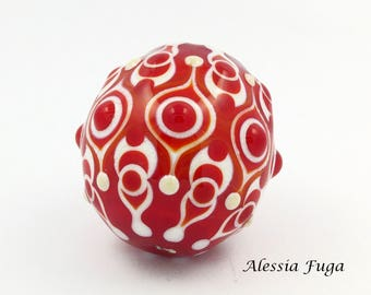 One of a kind red and ivory focal lampwork glass bead