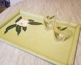 Vintage floral painted serving tray with 2 glasses
