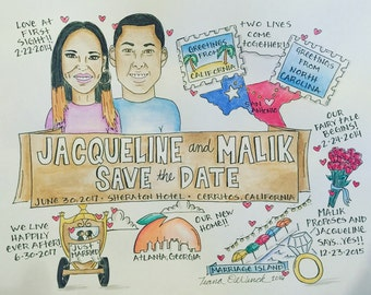 Fun and unique Save the Date/Wedding Invitation. Hand painted