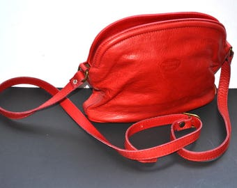 90s vintage Pelletteria Di Mario red purse genuine  leather made in Italy  Shoulder Bag