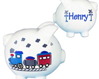 Hand Painted Personalized Train Piggy Bank for Boys Ceramic Banks Classic White Large Piggie piggybank Trains gift nursery Nursery PIGGwhi4N