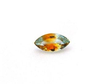 Bi-Color Blue Yellow Sapphire Gemstone 4.9x8.9x3.2 mm 1.1 carats Free shipping