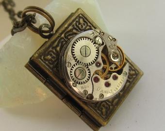 Steampunk book locket necklace  with watch  movement Brass Bronze locket Birthday gift ideas Photo locket Picture locket necklace