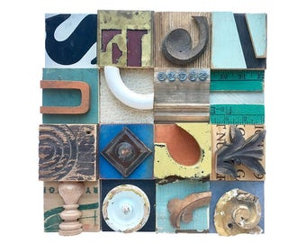 mixed media assemblage, wooden wall art, wood block collage, architectural salvage, original typography art by Elizabeth Rosen