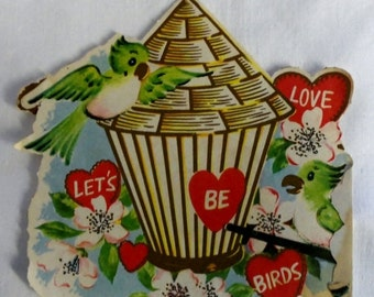 Special Sale Vintage 1940's Childrens Valentine Made in USA Let's Be Love Birds