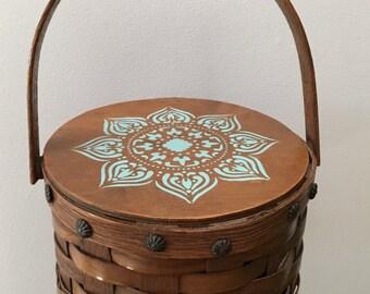 Sewing Basket ~ Little Round Vintage Basket with Turquoise Design ~Bohemian Basket