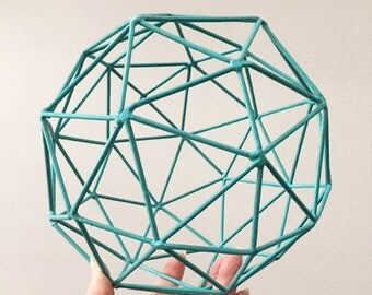 "Turquoise Geometric Wire Sphere ~ 7.5"""