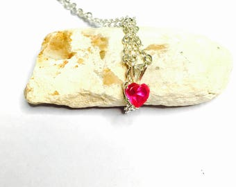 Vintage Ruby Heart Shape Pendant & Necklace, Silver/Plated, Clearance SALE, Item No. S265