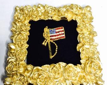 Vintage USA Flag BROOCH, Patriotic Pin,  Rhinestones, Gold Tone, Clearance Sale, Item No. B262