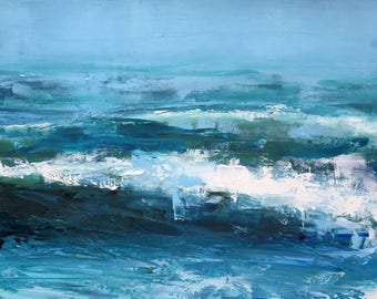 """Original 11' x 14"""" oil painting, abstract seascape, contemporary painting, wave, ocean, sea, surf, blue water, modern, fine art."""