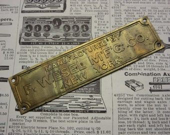 Antique Stamped Machinery Tag Machine Wesel Manufacturing Company New York NY Old Vintage Industrial Factory Equipment Jewelry Bracelet