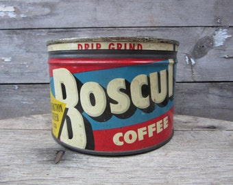 Vintage Tin Coffee Can BOSCUL Coffee Red & Blue White Kitchen Metal Tin Storage Display Country Farm Retro Kitchen Rustic Primitive Vtg Old