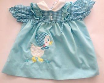 Vintage 1960s Baby Girls' Light Blue Dress Chick Applique 9 12 Months