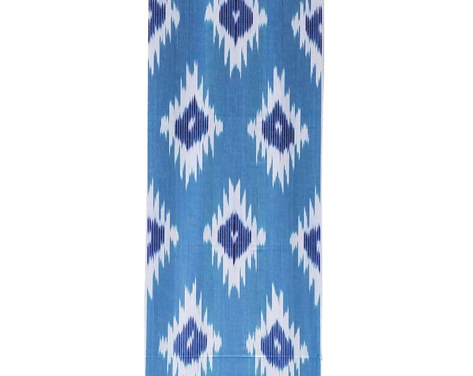 Ikat Fabric, Ikat Fabric by the yard, Blue Ikat Fabric, Table Runner, Ikat, Woven Cotton Fabric, F-A455