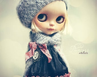 SALE!!! Blythe Ooak Set MORNING MISTS By Odd Princess Atelier, Jacket, Beret, Hand Knitted Collection