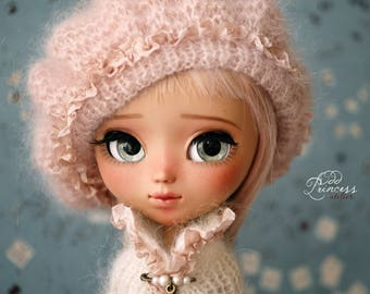 Blythe/Pullip Peach Beret PASTEL DREAMS By Odd Princess Atelier, New Collection, Hand Knitted Collection