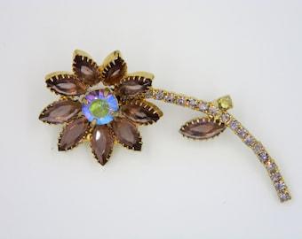 Vintage Rhinestone and Aurora Borealis Flower brooch