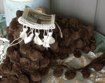 EIght Generous  Yards of Vintage Brown Colored Pom ~ Pom Fringe!  Wrapped on a Vintage Quill Spindle