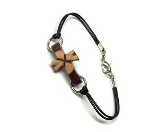 Sideways Cross Bracelet - Handmade Wooden Cross Bracelet - Purpleheart & Maple