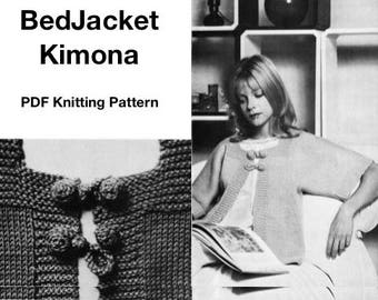 Vintage 1970s Knitted KIMONO Sweater, Cardigan, Beginners, Easy,  Knitting PDF Pattern, Knitting Instant Download