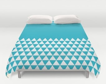 36 colours, Geometric Triangles Half Print Duvet Cover, Scuba Blue bedroom decor, double duvet, king duvet cover, queen duvet cover