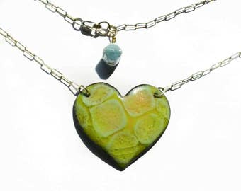 Chartreuse  Bubbles Vitreous Enamel  Heart Necklace