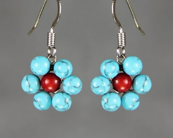 Customized daisy Turquoise coral flower drop earrings Bridesmaids gifts Free US Shipping handmade Anni Designs