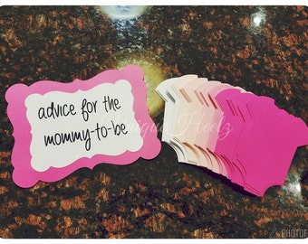 Mommy To Be Advice Cards - Great for Baby showers! Onesie shaped cards - Advice for Mommy - Pink - Blue or Neutral