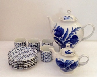 Vintage Tea, Demitasse Set, Cups and Saucers, Blue and White, Norcrest Japan, Svc for 4
