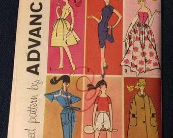 Advance sewing patterns, Barbie, 1961,  dress, coat, kimono