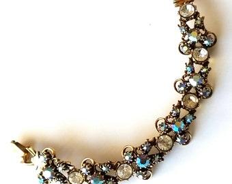 Vintage Florenza Bracelet Blue and Aurora Borealis Rhinestones, Signed