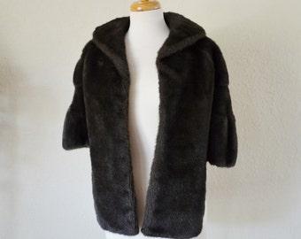 Vintage Vegan Faux Fur Capelet Stole Wrap Dark Brown