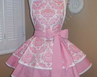 MamaMadison Best Seller...Pink Damask Print Woman's Retro Apron With Tiered Skirt And Bib