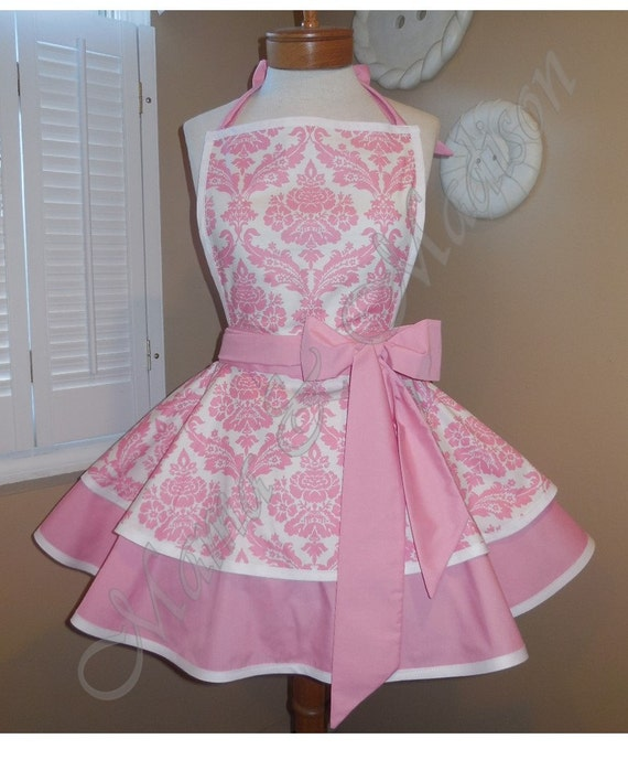 Valentines Day Apron...Sweet Pink Damask Print Woman's Retro Apron With Tiered Skirt And Bib