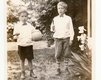 Boys With Ball And Candy On A Stick Antique Snapshot Photo Of Children Toy Memorabilia Black And White Photograph