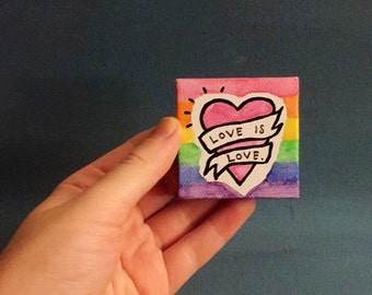 Love is love - tiny watercolor - LGBTQ+ - The Trevor Project - Pride - Gift - equality