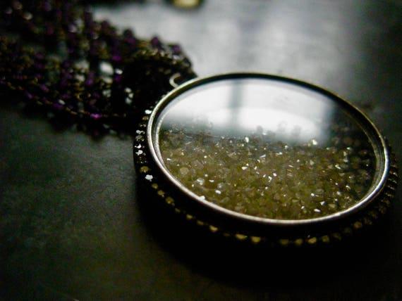 AMODINI   Multi Strand Hand Cut Amethyst Stone and Diamond Pendant Locket Necklace