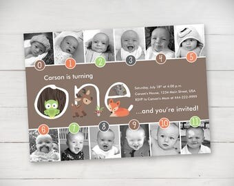 Forest Friends Timeline 1st Birthday Invitation (Unisex) - Digital File