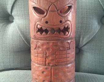 Vintage Wood Tiki Lamp for Mid Century Home or Bar