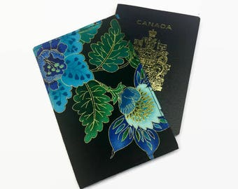 Passport Holder, RFID Protection, Womens Passport Cover, Passport Case, Floral Passport Cover, Black Passport Holder, Travel Accessories