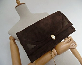 SALE :))) CHOCOLATE SUEDE .  Art Deco Geometric Convertible Shoulder Bag Golden Chain Clutch Brown Suede Leather 50s