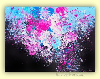 Large Abstract wall art, Orignal Art Painting, Blue pink black Abstract, Modern abstract Art on Canvas, MADE TO ORDER