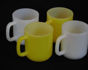 Yellow and White Glasbake Diner Style Retro Mugs