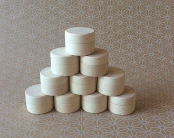 mini wooden box / set of 30 / small wooden container / round wooden box / party favors / ring bearer box / cute packaging