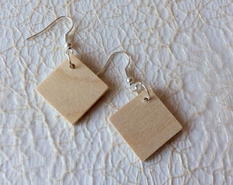 Wooden earrings / 10 pairs / dangle earrings / rhombus earrings / geometric earrings / do it yourself jewelry