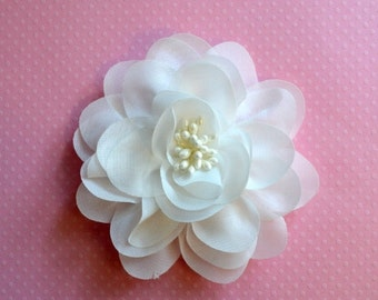 """Sale Off White Chiffon Flower. 4"""" Off White Flower. 1 pc. ISLA Collection. A3-SF-002X"""