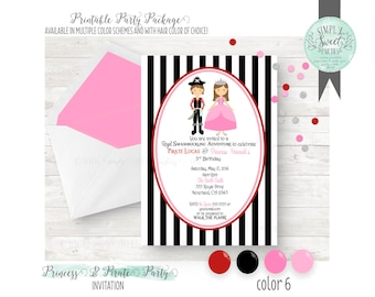 PRINTABLE INVITATION. Princess and Pirate Birthday Party in pink and red. Jpeg or PDF file. Includes Hair Color of Choice pink & navy